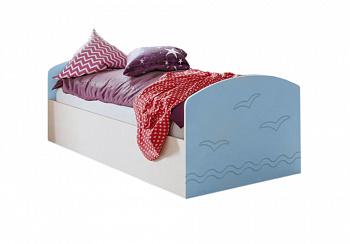 Кровать Юниор-2 голубой / дуб беленый
