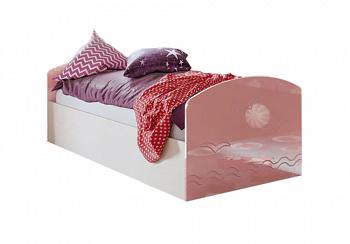 Кровать Юниор-2 розовый металлик / дуб беленый