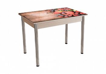 Стол обеденный №5 дуб молочный / фотопечать ягоды
