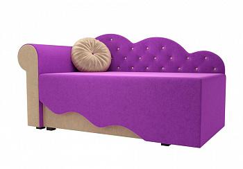 Детская кровать Тедди-1 микровельвет фиолетовый / бежевый