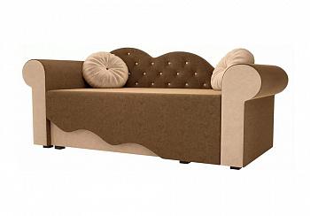 Детская кровать Тедди-2 микровельвет коричневый / бежевый
