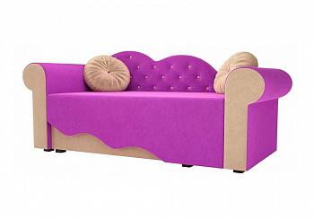 Детская кровать Тедди-2 микровельвет фиолетовый / бежевый