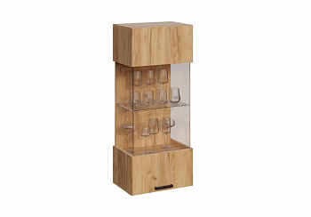 Шкаф со стеклом навесной Атлея дуб крафт