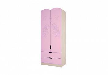 Шкаф Юниор-3 Мульт розовый металлик / дуб беленый