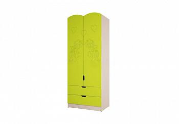 Шкаф Юниор-3 Мульт лайм металлик / дуб беленый