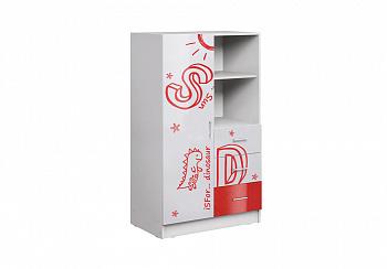 Шкаф комбинированный Вега Алфавит белый / красный