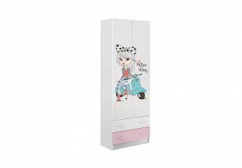 Шкаф 2-х створчатый Вега FASHION-1 белый / розовый