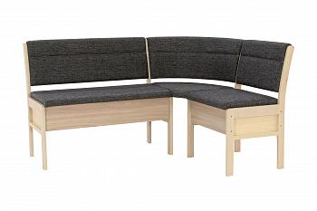 Кухонный угловой диван Этюд облегченный 2-1 серый / выбеленная береза