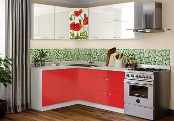 Кухня Маки красные угловая 1.5 на 1.8 м белый глянец / красный металлик