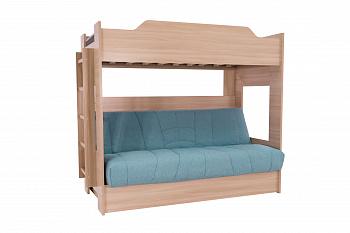 Двухъярусная кровать с диван-кроватью голубой / шимо светлый