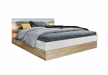Кровать Ким белый глянец / сонома