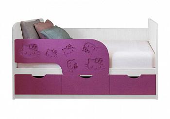 Детская кровать Kitty сирень темная металлик / белый