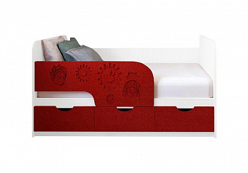 Детская кровать Фиксики красный металлик / белый