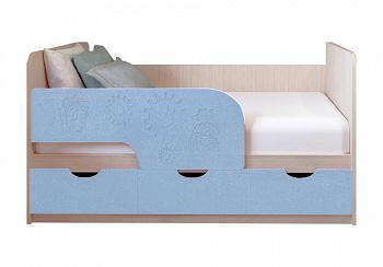 Детская кровать Фиксики голубой металлик / белфорт