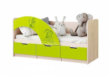 Кровать Юниор-3 Маша и Медведь лайм / дуб беленый