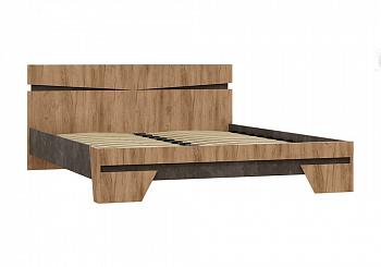 Кровать Соренто 1.6 м дуб крафт / бетон темный