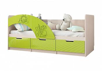 Кровать Юниор-3 Мульт лайм / дуб беленый