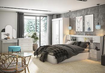 Спальный гарнитур Бася с трельяжем белый
