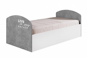 Кровать Юниор-2 Лофт бетон светлый / белый