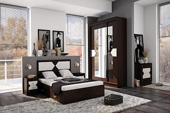 Модульная спальня Николь венге / лиственница светлая