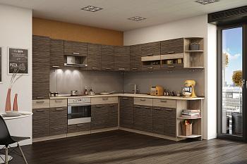 Кухня угловая Эра Зебрано 2.8 на 2.49 м ясень шимо светлый / зебрано