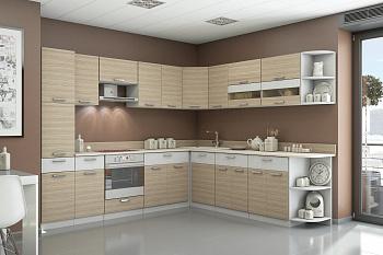 Кухня угловая Эра Сахара 2.8 на 2.49 м белый артекс / сахара