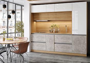 Модульная кухня Карина белый глянцевый / бетон светлый / сонома