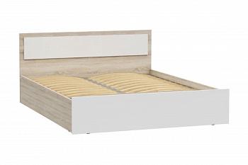 Кровать Мартина с подъемным механизмом белый глянец / дуб сонома