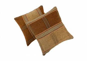 Комплект подушек коричневая клетка шенилл
