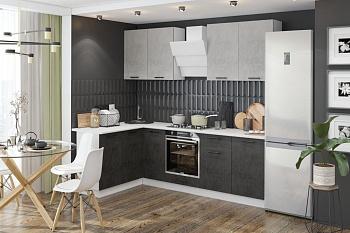 Кухня угловая 2.6 на 1.5 м Лофт камень светлый / камень темный