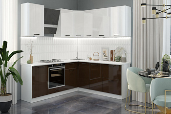 Кухня угловая 2.05 на 2.2 м Лофт белый глянец / шоколад глянец